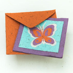 Flower Garden - Greeting Card - Butterfly - Purple/ Orange on Turquoise - (Set of 5)