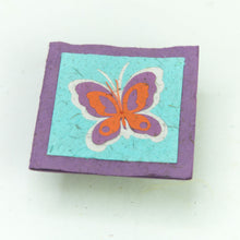 Load image into Gallery viewer, Flower Garden - Greeting Card - Butterfly - Purple/ Orange on Turquoise - (Set of 5)