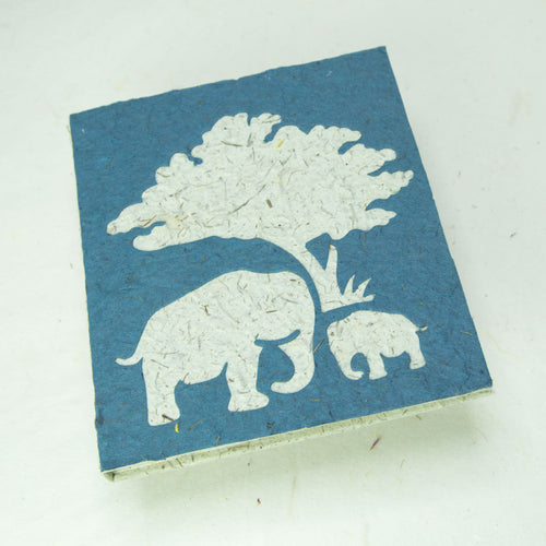 Eco-Friendly, Tree-Free, Classic Elephant POOPOOPAPER - Mom & Baby Journal - Blue - Front