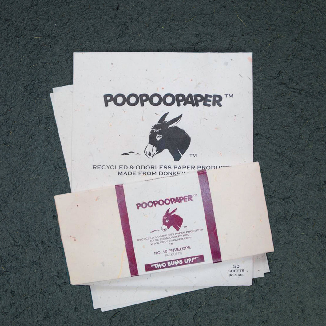 Eco-Friendly, Tree-Free, Letter Size Donkey POOPOOPAPER - A4 and Envelope Set
