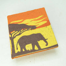 Load image into Gallery viewer, Eco-Friendly, Tree-Free POOPOOPAPER - Savannah Sunset Journal - Elephant - Orange - Front