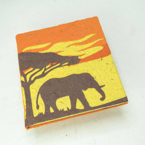 Eco-Friendly, Tree-Free POOPOOPAPER - Savannah Sunset Journal - Elephant - Orange - Front