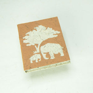 Eco-Friendly, Tree-Free, Classic Elephant POOPOOPAPER - Mom & Baby Mini-Journal - Bark - Front