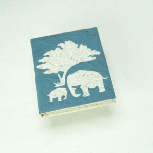 Eco-Friendly, Tree-Free, Classic Elephant POOPOOPAPER - Mom & Baby Mini-Journal - Blue - Front