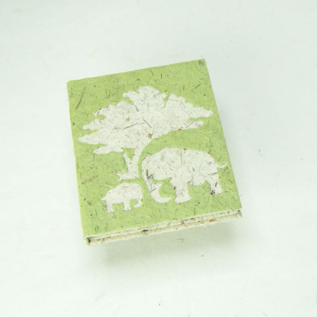 Eco-Friendly, Tree-Free, Classic Elephant POOPOOPAPER - Mom & Baby Mini-Journal - Grass - Front