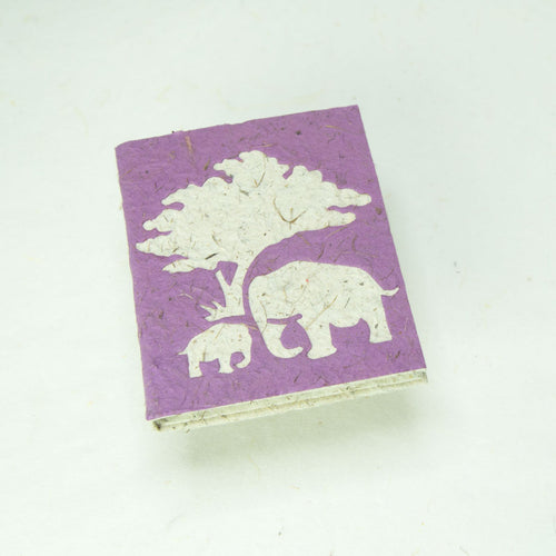 Eco-Friendly, Tree-Free, Classic Elephant POOPOOPAPER - Mom & Baby Mini-Journal - Purple - Front