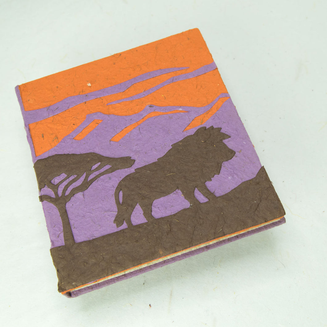 Eco-Friendly, Tree-Free POOPOOPAPER - Savannah Sunset Journal - Lion - Purple - Front