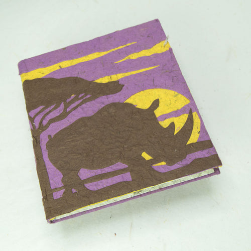 Eco-Friendly, Tree-Free POOPOOPAPER - Savannah Sunset Journal - Rhinoceros - Purple - Front