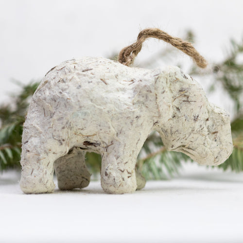 Elephant POOPOOPAPER Ornaments - Set of 2 Elephants - Natural
