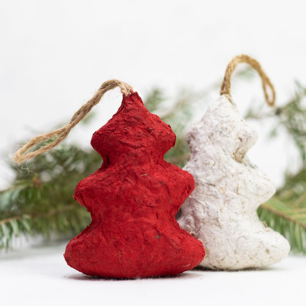Set of 4 Elephant POOPOOPAPER Ornaments - Trees (Red+White)