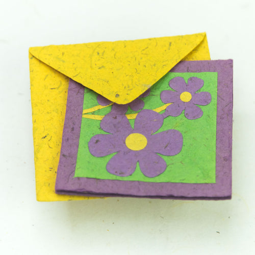 Flower Garden - Greeting Card - Three Purple Flowers -  (Set of 5)
