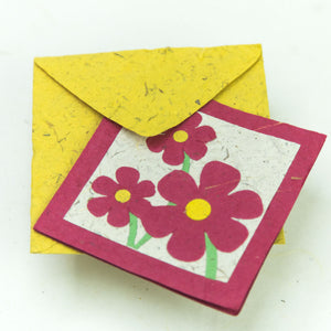 Flower Garden - Greeting Card - Three Pink Flowers -  (Set of 5)