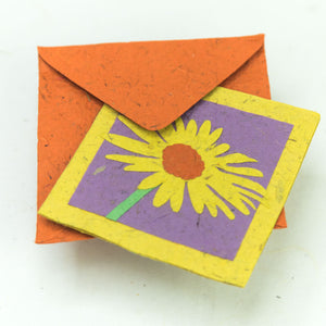 Flower Garden - Greeting Card - Single Yellow Flower -  (Set of 5)