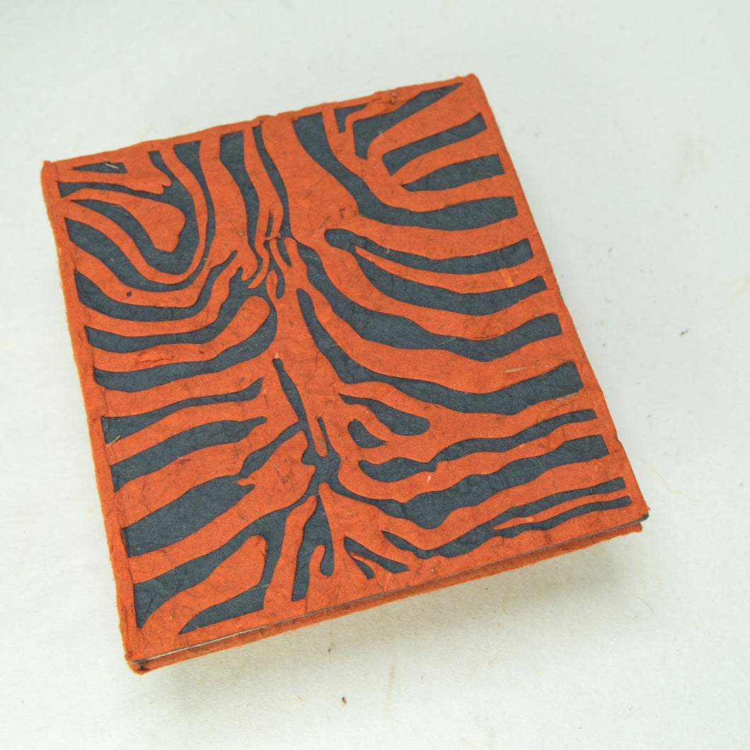 Eco-Friendly, Tree-Free, Sustainable, Organic Elephant POOPOOPAPER Journal with Tiger design - Front