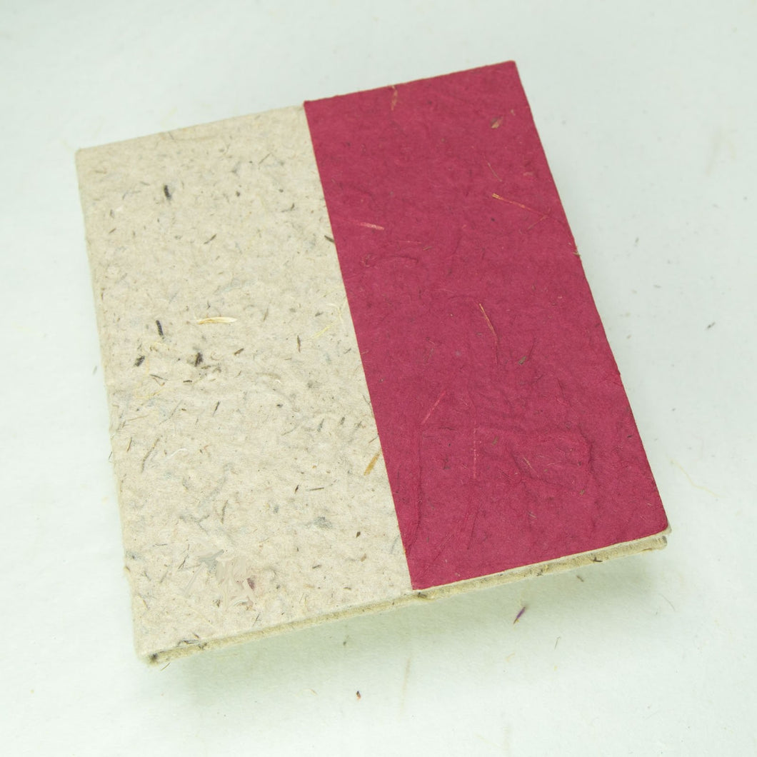 Two-Tone, Eco-Friendly, Tree-Free, Sustainable, Burgundy Elephant POOPOOPAPER Journal - Front