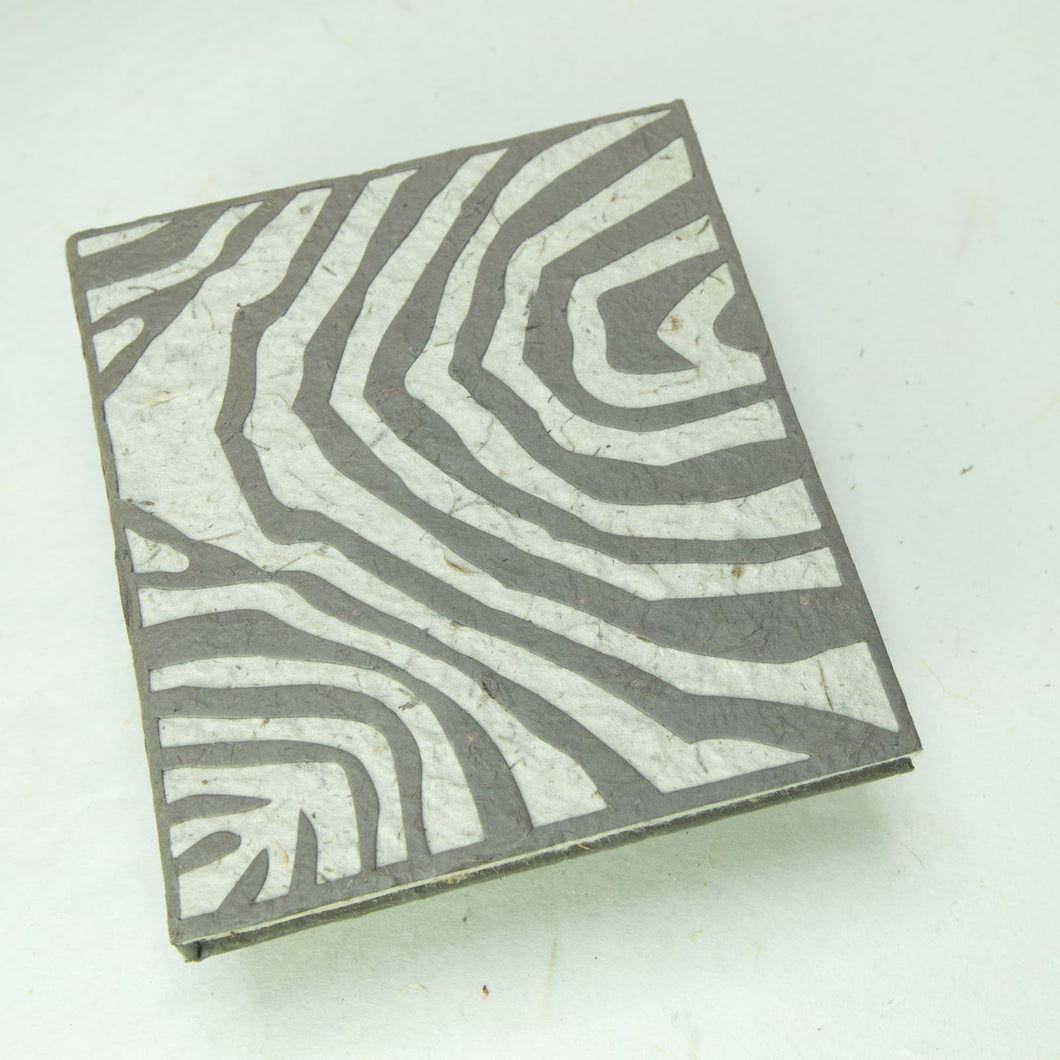 Eco-Friendly, Tree-Free, Sustainable, Organic Elephant POOPOOPAPER Journal with Zebra design - Front
