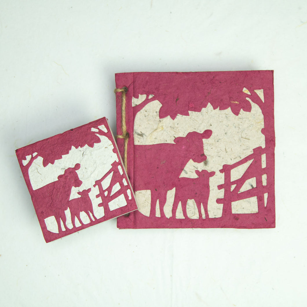 On the Farm - Twine Journal and Scratch Pad - Cow & Baby - Burgundy