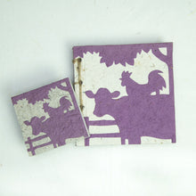 Load image into Gallery viewer, On the Farm - Twine Journal and Scratch Pad - Cow & Rooster - Purple