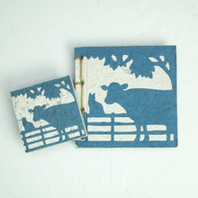 Load image into Gallery viewer, On the Farm - Twine Journal and Scratch Pad - Cow & Cat - Blue