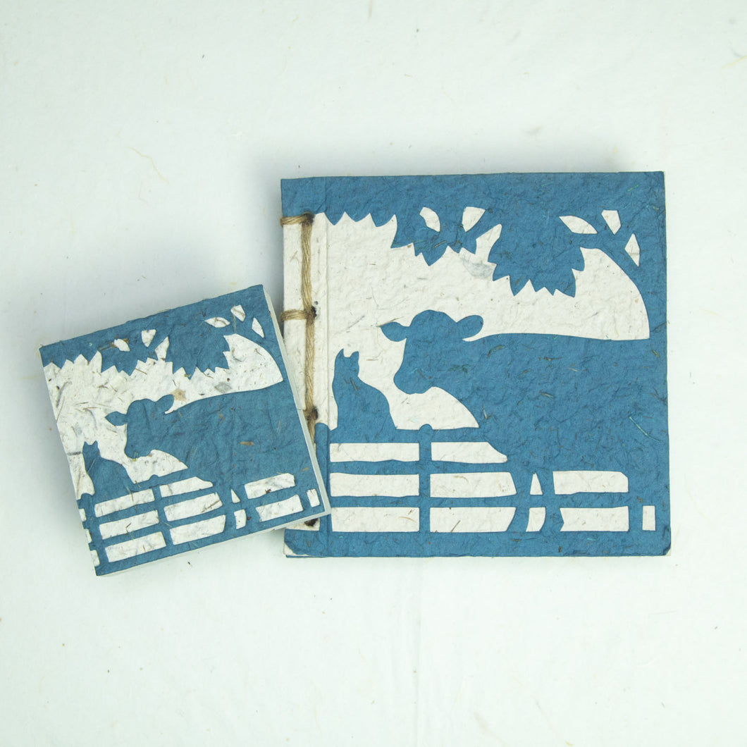 On the Farm - Twine Journal and Scratch Pad - Cow & Cat - Blue
