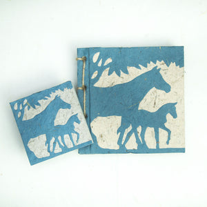 On the Farm - Twine Journal and Scratch Pad - Horse & Baby - Blue
