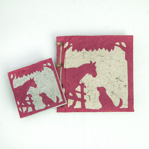 On the Farm - Twine Journal and Scratch Pad - Horse & Dog - Burgundy
