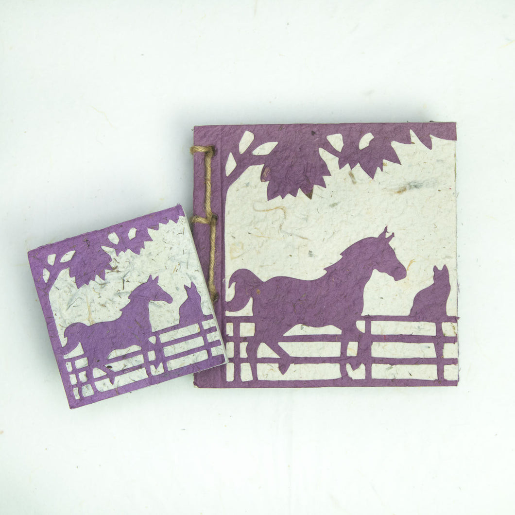 On the Farm - Twine Journal and Scratch Pad - Horse & Cat - Purple