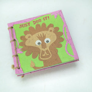 Eco-Friendly, Tree-free - Twine Journal and Scratch Pad set by POOPOOPAPER - Face at the Zoo - Lion - Journal Front