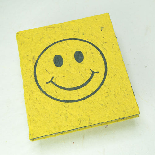 Eco-Friendly, Tree-Free POOPOOPAPER - Pile of Smile - Happy Face -  Yellow Journal - Front