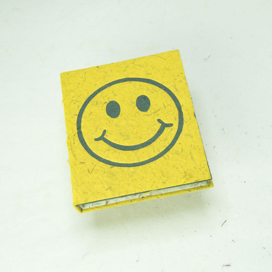 Eco-Friendly, Tree-Free POOPOOPAPER - Pile of Smile - Happy Face -  Yellow Mini-Journal - Front