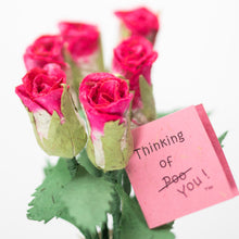 Load image into Gallery viewer, Bouquet of Six Pink Eco-Friendly, Sustainable, POOPOOPAPER Roses