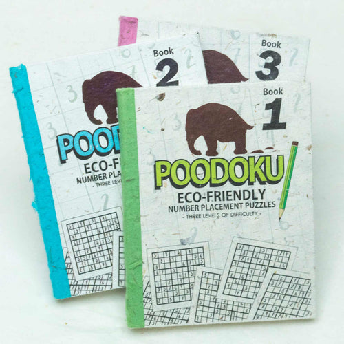 Poodoku - Three Volume Sudoku Number Placement Puzzle Set printed on Eco-Friendly, Tree Free Elephant POOPOOPAPER.