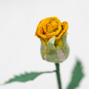 Single Yellow, Eco-Friendly, Sustainable POOPOOPAPER Rose - Close Up Side