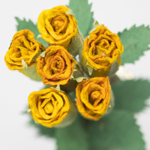 Bouquet of Six Yellow, Eco-Friendly, Sustainable POOPOOPAPER Roses - Top View