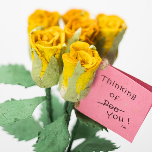 Bouquet of Six Yellow, Eco-Friendly, Sustainable POOPOOPAPER Roses - with Card