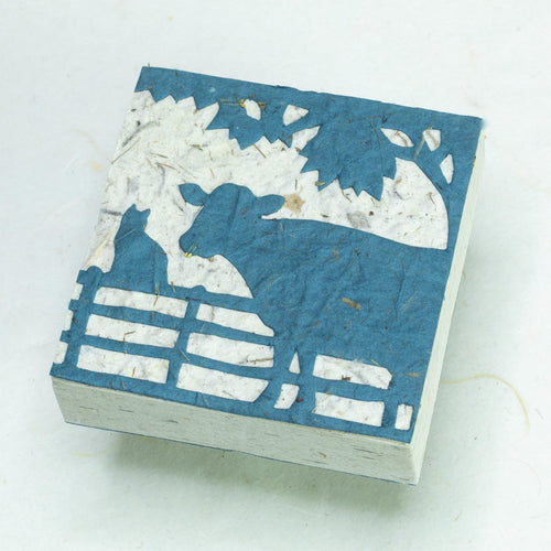 Cow POOPOOPAPER - Cow & Cat Blue Scratch Pad (Set of 3) - Front