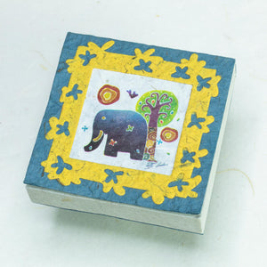 Elephant Sunrise Batik Scratch Pad - Blue (Set of 3)