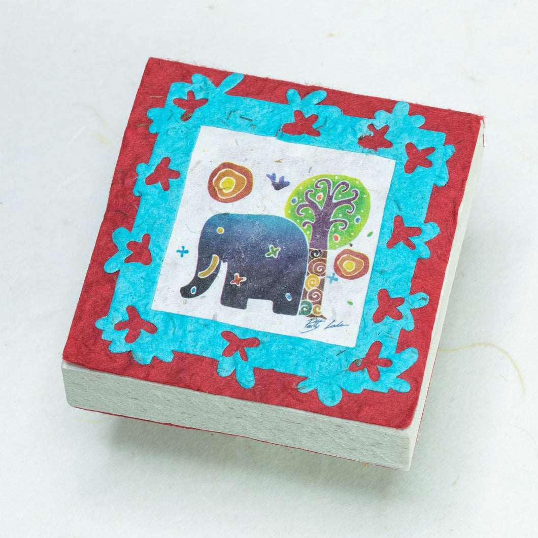 Artist Reproductions  - Thailand Themed - Elephant Sunrise Batik Scratch Pad - Red (Set of 3)