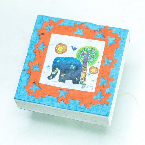 Artist Reproductions  - Thailand Themed - Elephant Sunrise Batik Scratch Pad - Teal (Set of 3)