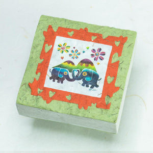 Artist Reproductions  - Thailand Themed - Elephant Sunrise Batik Scratch Pad - Grass (Set of 3)