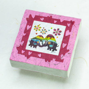 Artist Reproductions  - Thailand Themed - Elephant Sunrise Batik Scratch Pad - Pink (Set of 3)