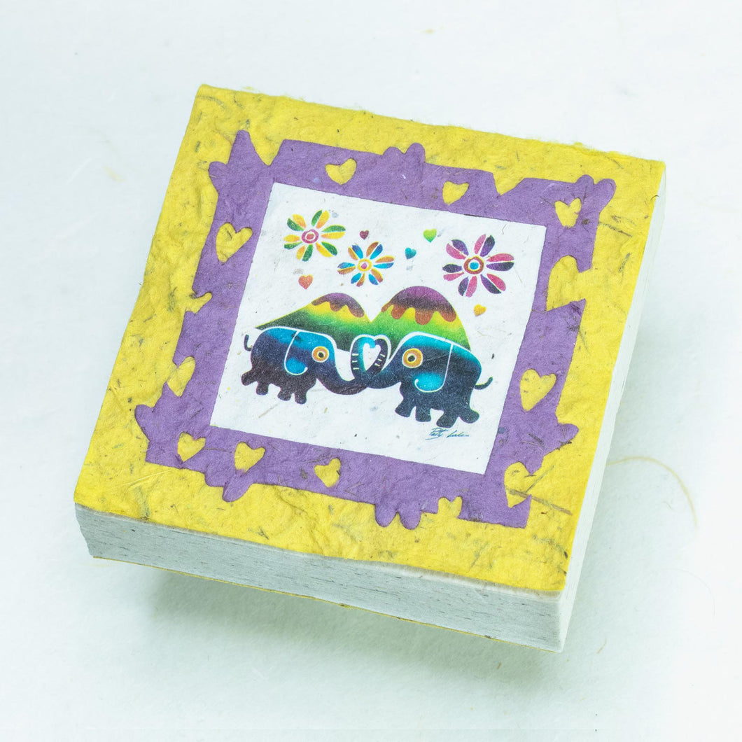 Artist Reproductions  - Thailand Themed - Elephant Sunrise Batik Scratch Pad - Yellow (Set of 3)
