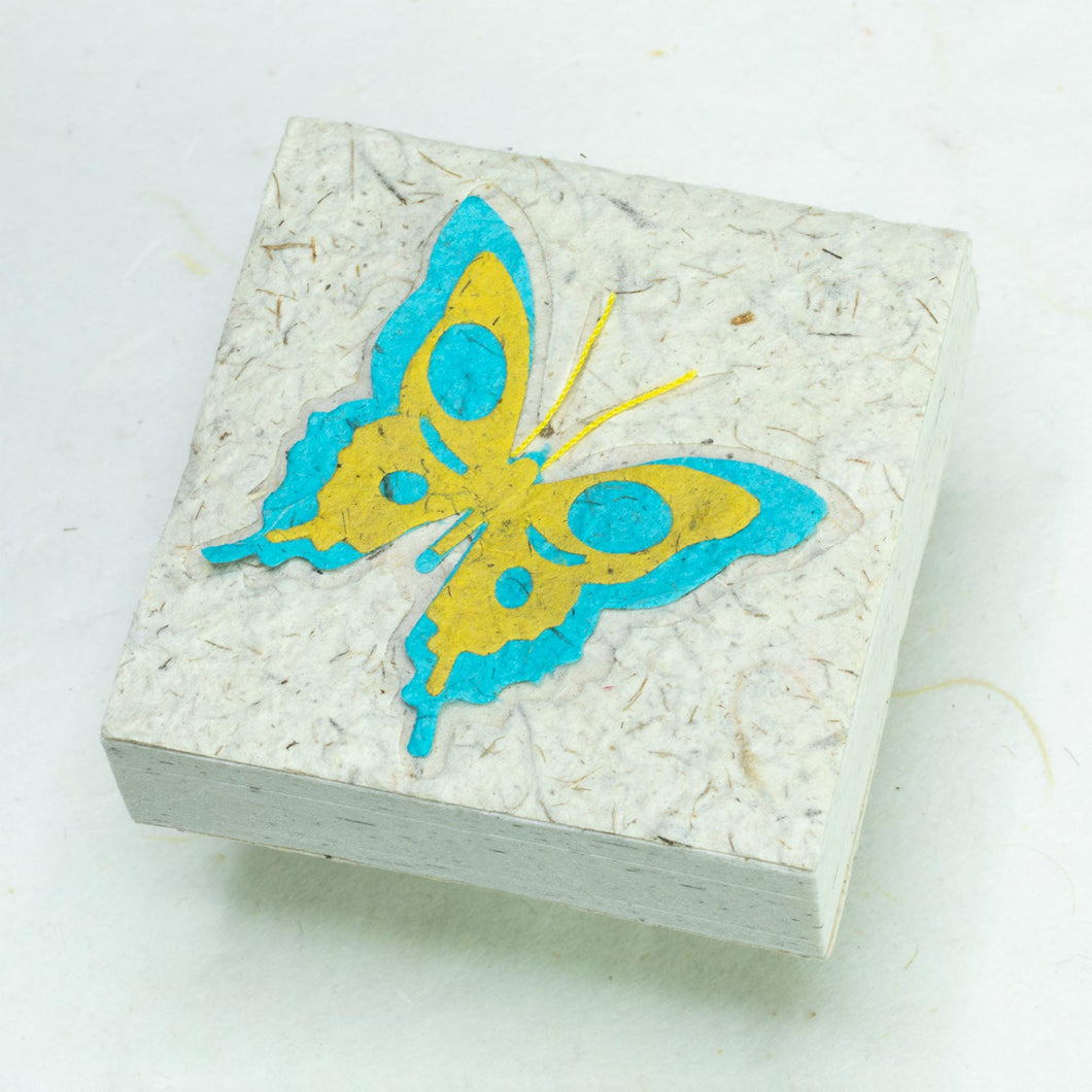 Copy of Butterfly Scratch Pad - Turquoise and Yellow (Set of 3) - Front
