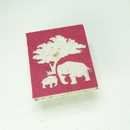 Eco-Friendly, Tree-Free, Classic Elephant POOPOOPAPER - Mom & Baby Mini-Journal - Burgundy - Front