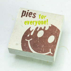 "Eco-Scratch Pad Elephant - ""PIES FOR EVERYONE"" (Set of 3) - Front"