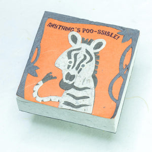 "Zebra ""Anything's POO-ssible!"" Scratch Pad (Set of 3) - Front"
