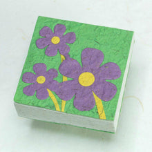 Load image into Gallery viewer, Three Purple Flowers - Eco-Friendly, Sustainable Scratch Pads made from POOPOOPAPER