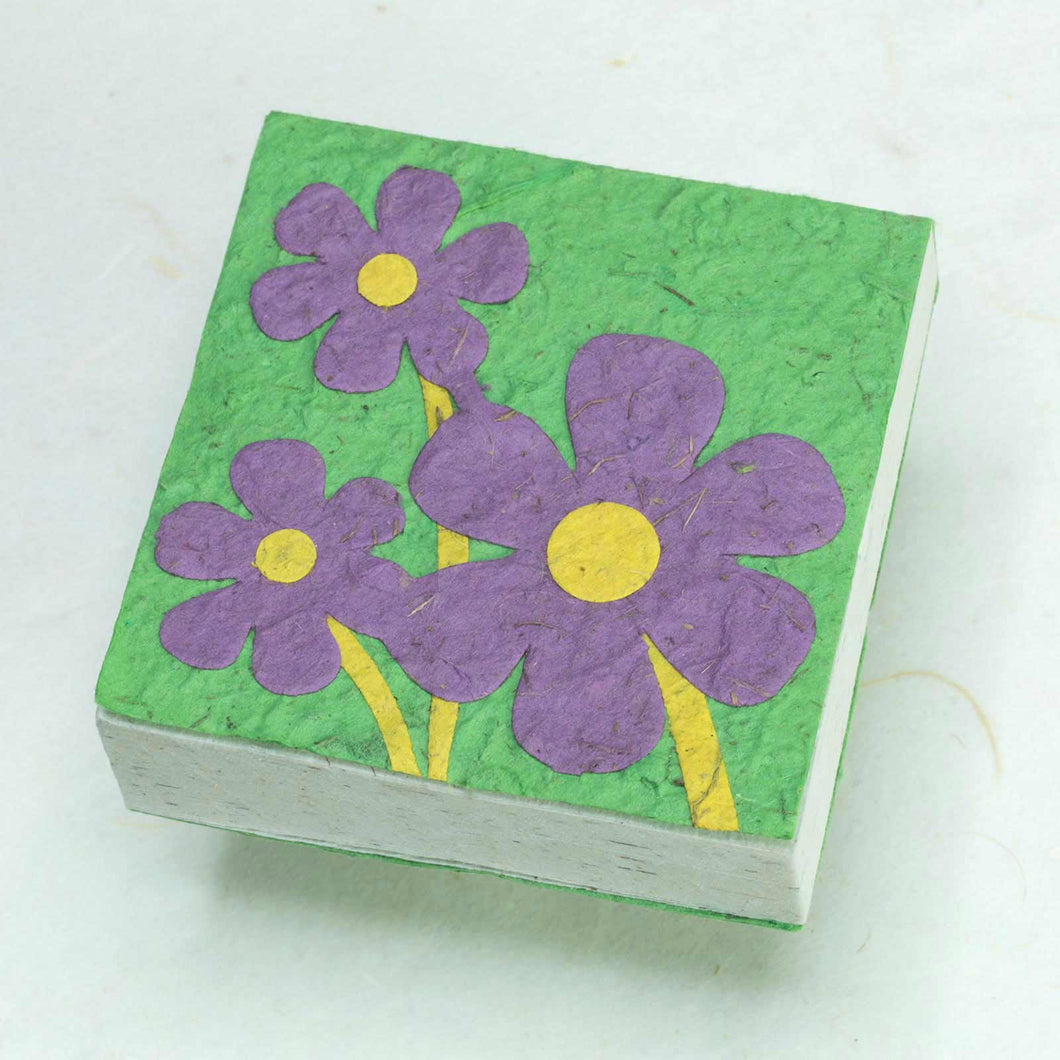 Three Purple Flowers - Eco-Friendly, Sustainable Scratch Pads made from POOPOOPAPER