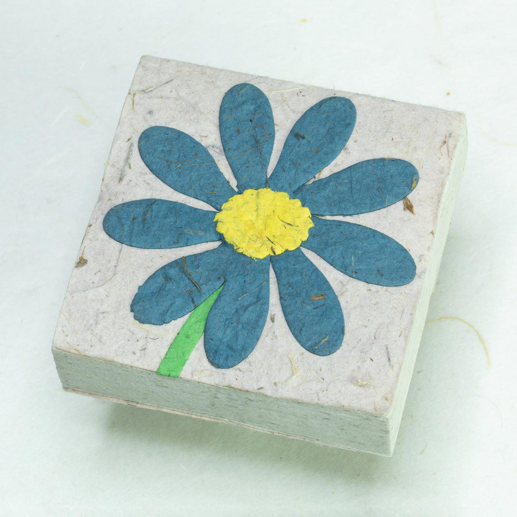 Flower Garden Scratch Pad - Single Blue Flower (Set of 3) - Front