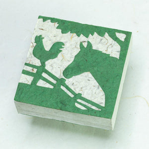 Eco-Friendly, Sustainable, Tree-Free Horse POOPOOPAPER Scratch Pads - Green - Front